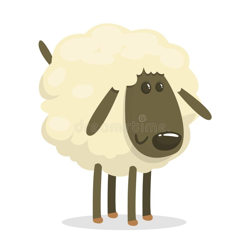Sweet funny cartoon sheep kids character. Vector illustration on white background. royalty free illustration