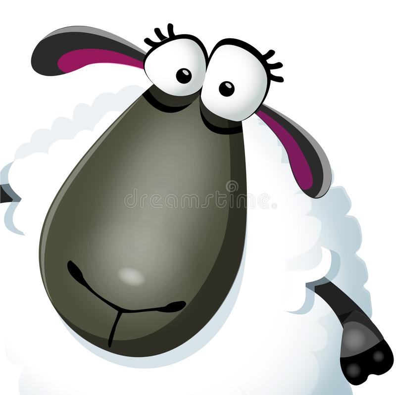 Sweet funny cartoon sheep portret kids character. Vector illustration on white background royalty free illustration
