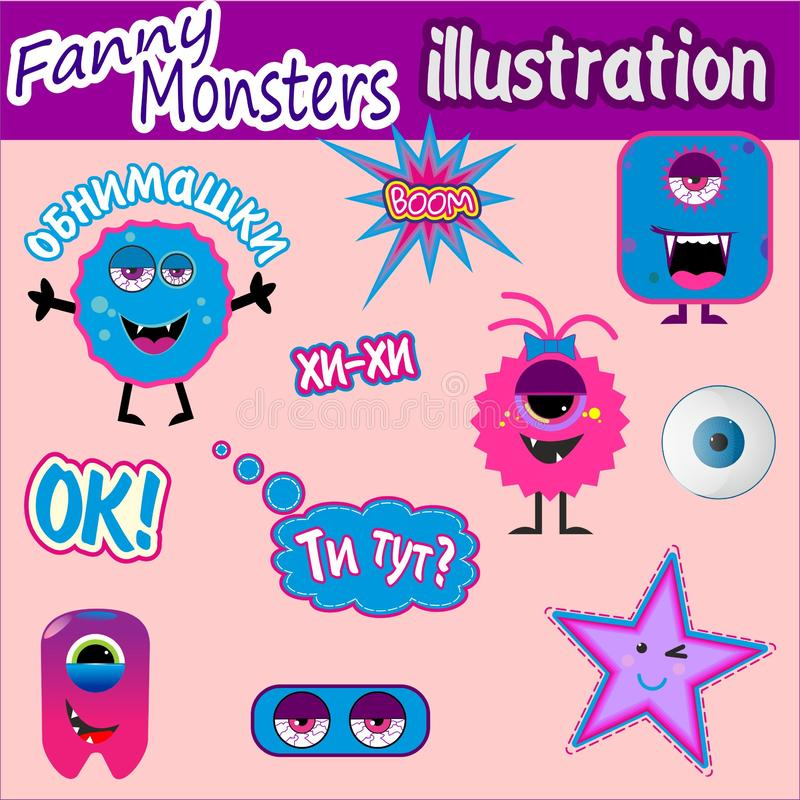 Cute funny monsters vector illustration. Colorful, sweet and scary funny monsters sticker illustration vector stock illustration