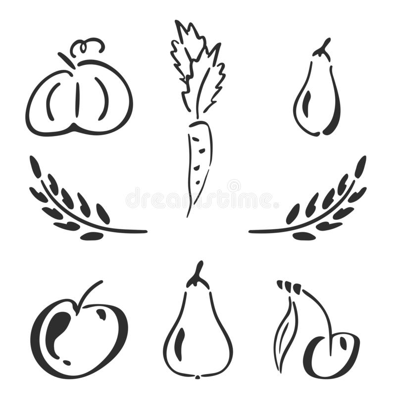 Sweet garden icon set - spikelet, pumpkin, pear, apple, cherry, carrot, zucchini. Simplified retro illustration royalty free illustration