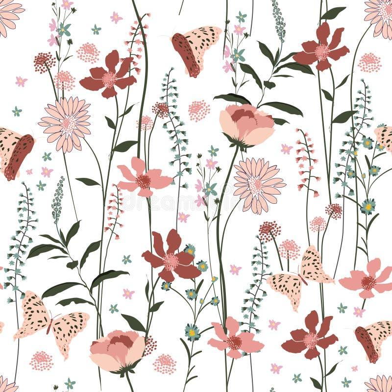 Sweet gentel blooming pastel Seamless Pattern colorful wind blo stock illustration