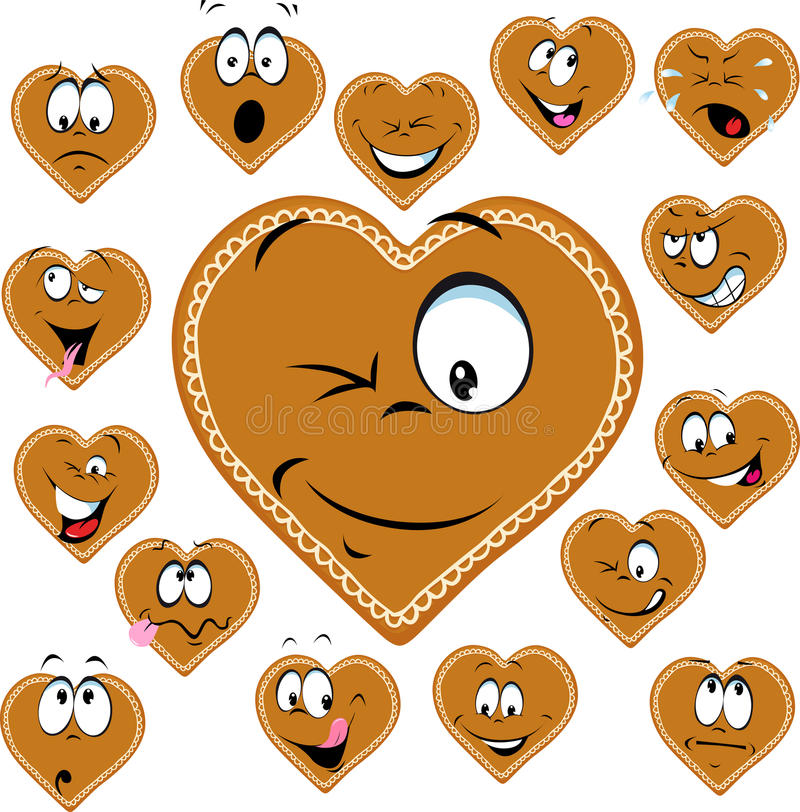 Sweet gingerbread heart with a happy face cartoon - vector stock illustration