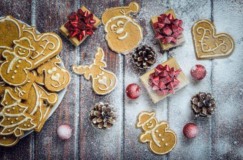 Download Christmas Concept With Gingerbread, Gifts And Snow. Stock Image - Image of biscuit, pattern: 108253399