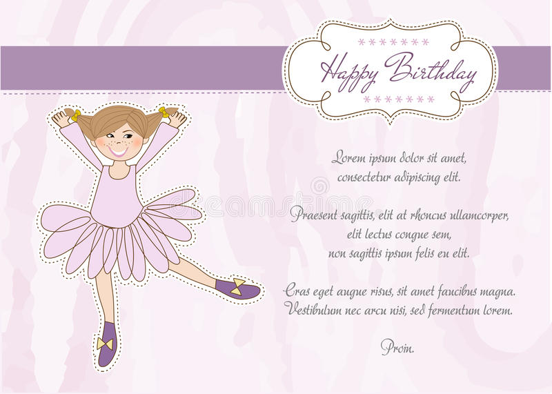 Download Sweet Girl Birthday Greeting Card Stock Vector - Image: 21742564