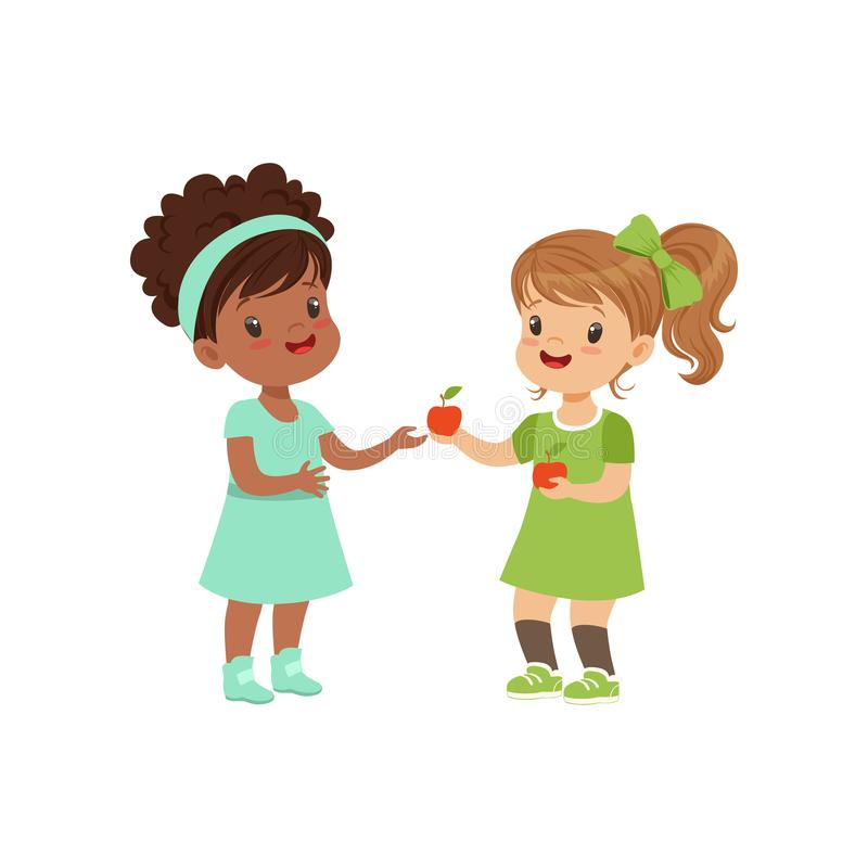 Sweet girl giving an apple to another girl, kids sharing fruit vector Illustration on a white background. Sweet girl giving an apple to another girl, kids royalty free illustration