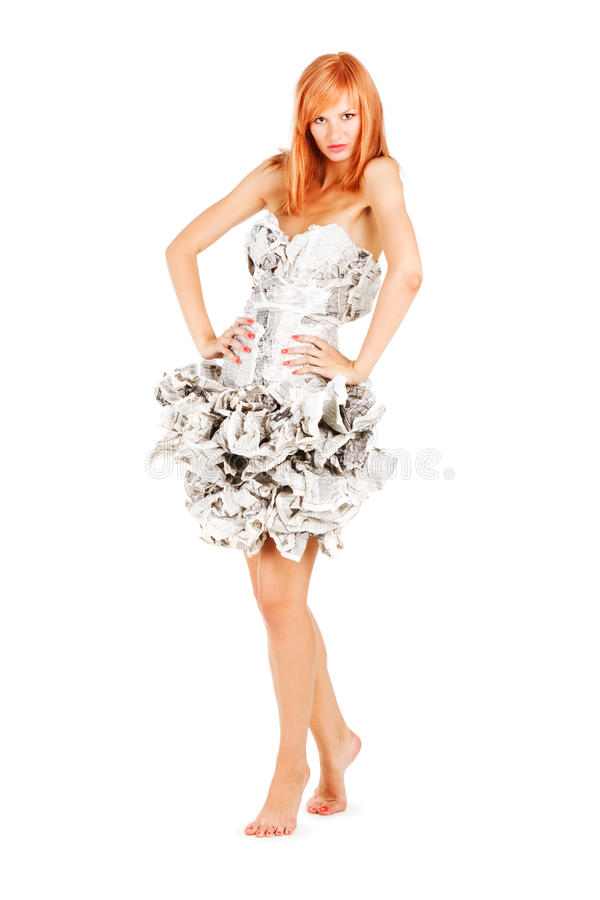 Free Sweet Girl In A Newspaper Dress Royalty Free Stock Images - 14348469