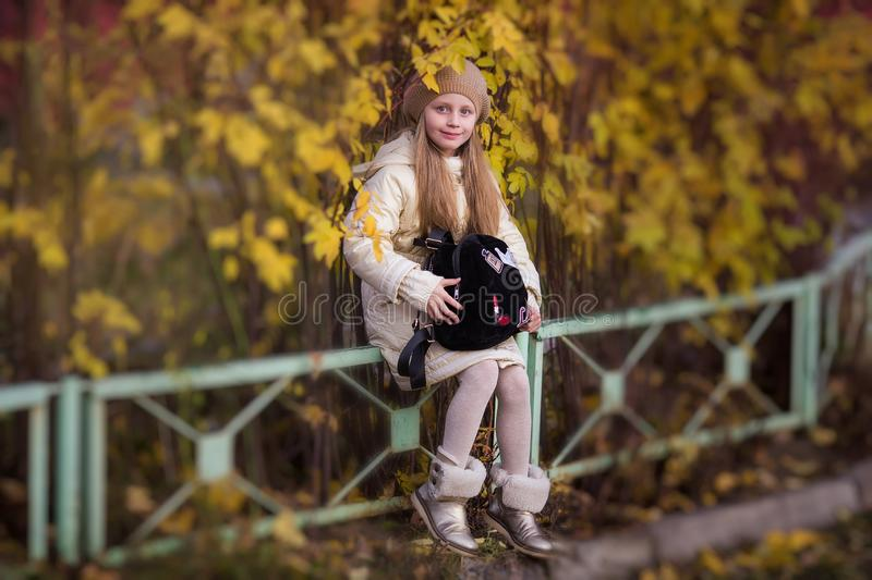 Sweet girl with long hair sitting in autumn park. Girl holding bag. royalty free stock photography