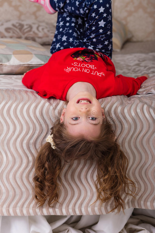 Download Sweet Girl In Pajamas Getting Ready For Bed Stock Image - Image: 83718993