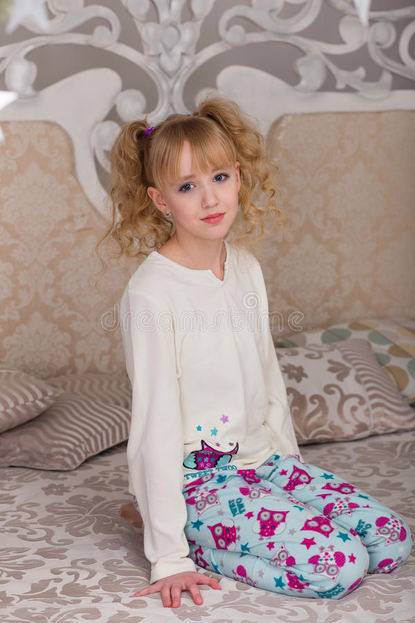 Download Sweet Girl In Pajamas Getting Ready For Bed Stock Image - Image: 83719839