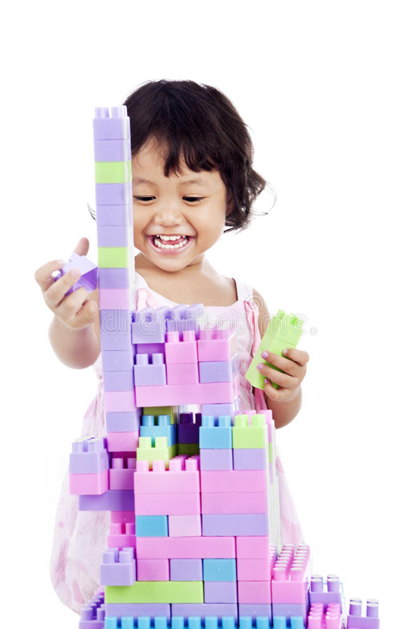 Sweet girl with toy blocks royalty free stock image