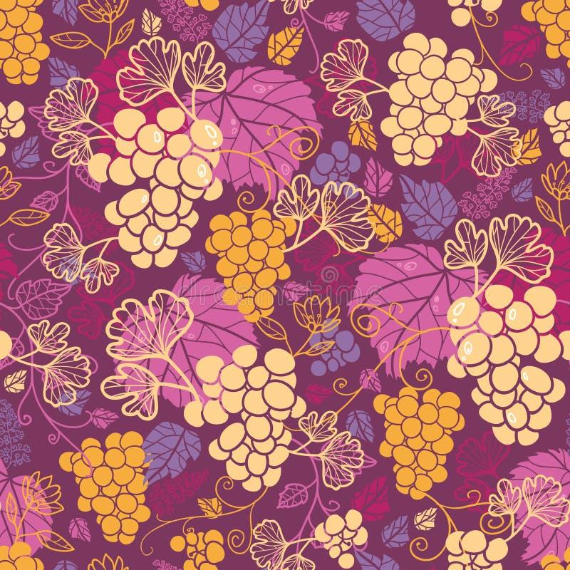 Sweet grape vines seamless pattern background royalty free illustration