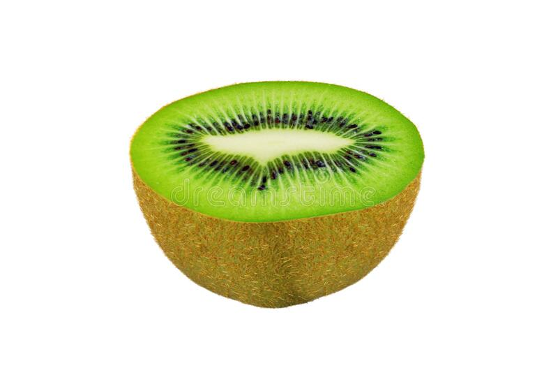 Sweet green juicy kiwi fruit slice macro isolated on white for design packaging. Sweet green juicy kiwi fruit slice macro shoot isolated on white for design royalty free stock photography