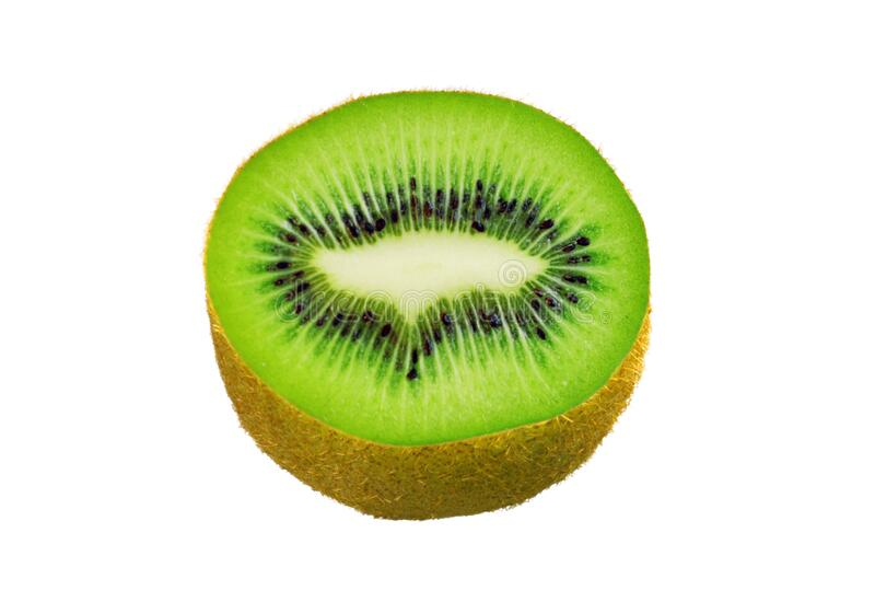 Sweet green juicy kiwi fruit slice macro isolated on white for design packaging. Sweet green juicy kiwi fruit slice macro shoot isolated on white for design stock photos