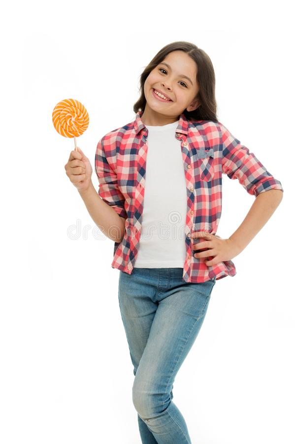 Sweet happiness. Can sugar make us happy. Girl smiling face hold sweet lollipop. Girl like lollipop candy isolated white stock photos