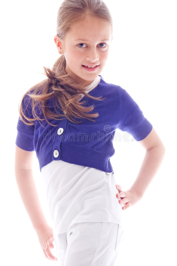 Sweet happy girl. Young brunette child posing in different clothes royalty free stock photography