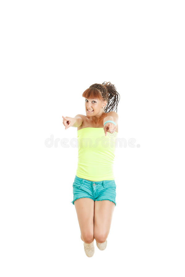 Sweet happy girl jumping of joy excited royalty free stock images