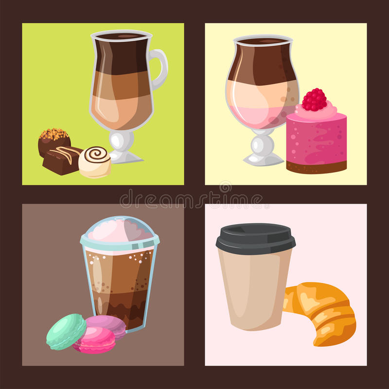 Sweet hazelnut muffins delicious cake coffee cup morning bakery dessert pastry fresh drink cappuccino vector. Illustration. Healthy cuisine snack mug stock illustration