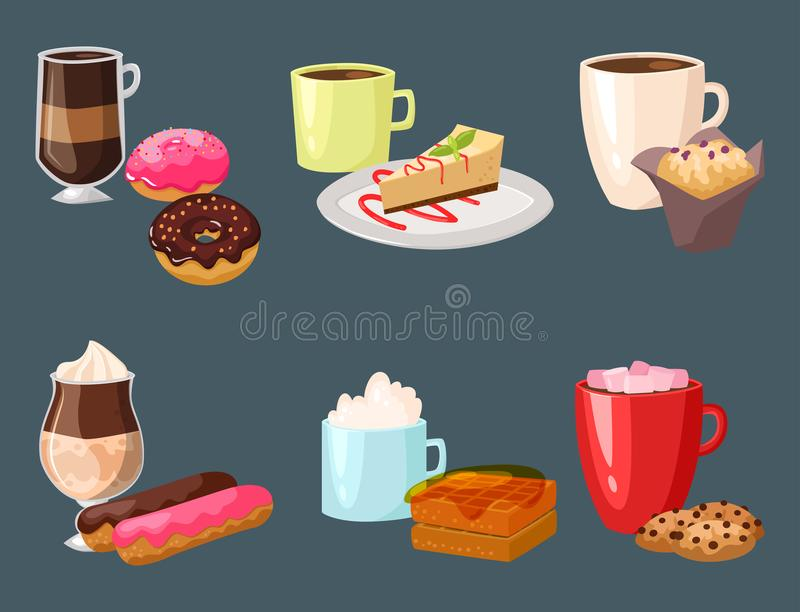 Sweet hazelnut muffins delicious cake coffee cup morning bakery dessert pastry fresh drink cappuccino vector. Illustration. Healthy cuisine snack mug royalty free illustration