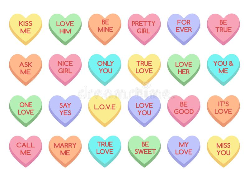 Sweet heart candy. Sweetheart candies isolated on white background, conversation sweets for valentines day, valentine sugar food hearts stock illustration