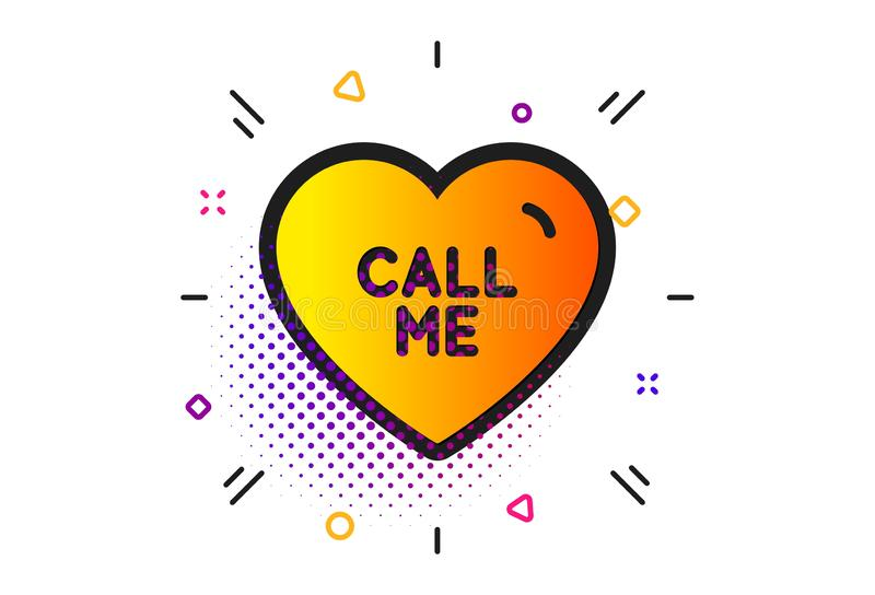 Call me icon. Sweet heart sign. Valentine day love. Vector. Sweet heart sign. Halftone circles pattern. Call me icon. Valentine day love symbol. Classic flat royalty free illustration