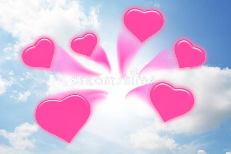 Sweet hearts abstract. Sweet hearts rush from the blue sky vector illustration