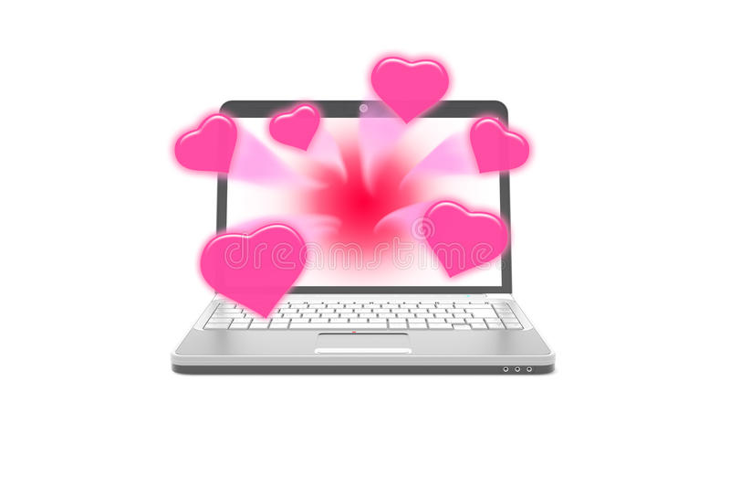 Sweet hearts rush from laptop notebook. Isolate background royalty free illustration