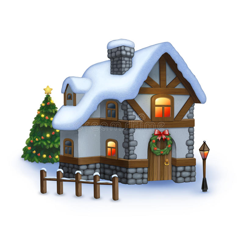 Sweet home. Illustration of sweet home with christmas decoration royalty free illustration