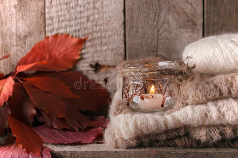 Sweet home. Christmas fall autumn decor on vintage wooden background. Monochrome photo, hygge style. royalty free stock photos