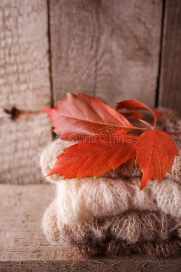 Sweet home. Christmas fall autumn decor on vintage wooden background. warm clothes and red leaves, cozy, warming Monochrome photo. Hygge style royalty free stock photo