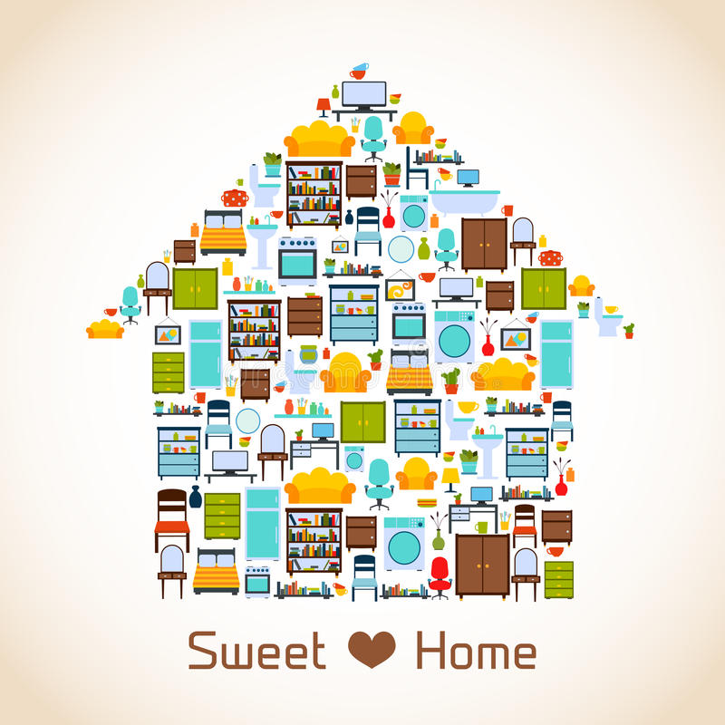 Sweet home concept. Interior furniture sweet home concept with indoors icons vector illustration stock illustration