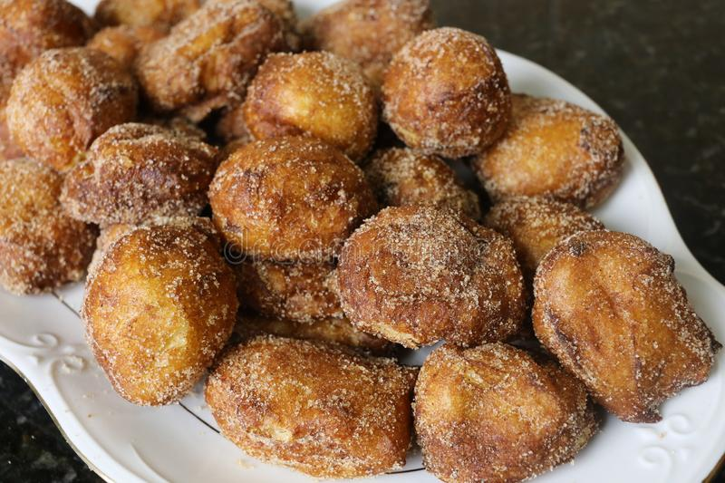 Sweet home fried for christmas. The fritters are a very popular homemade sweet, they are eaten as breakfast, snack or dessert and at Christmas stock images