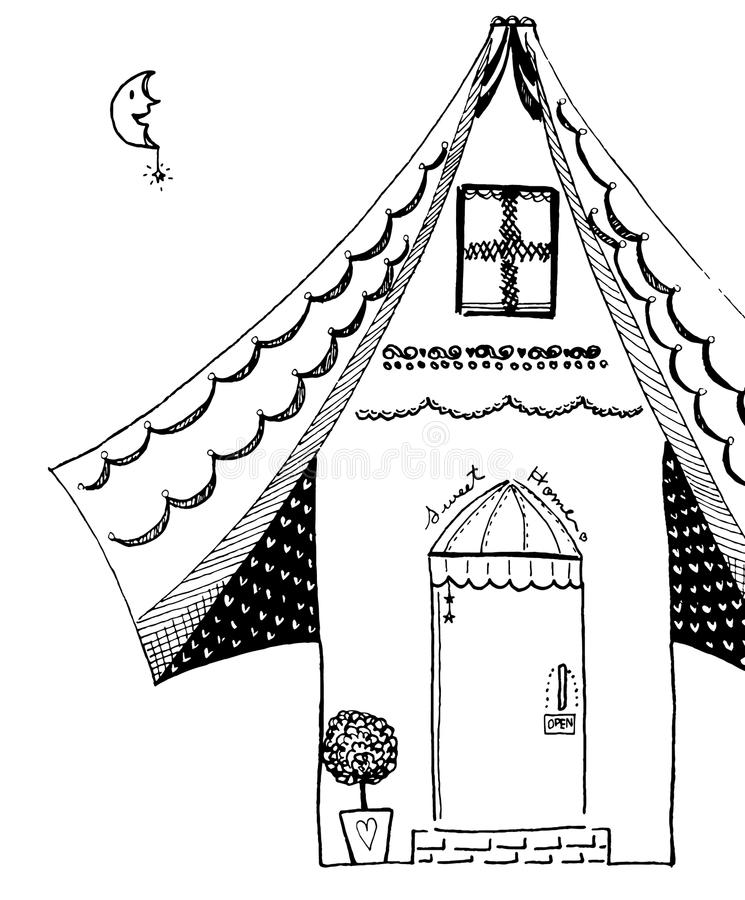 Line Art Home : Sweet home line art drawing black and white stock