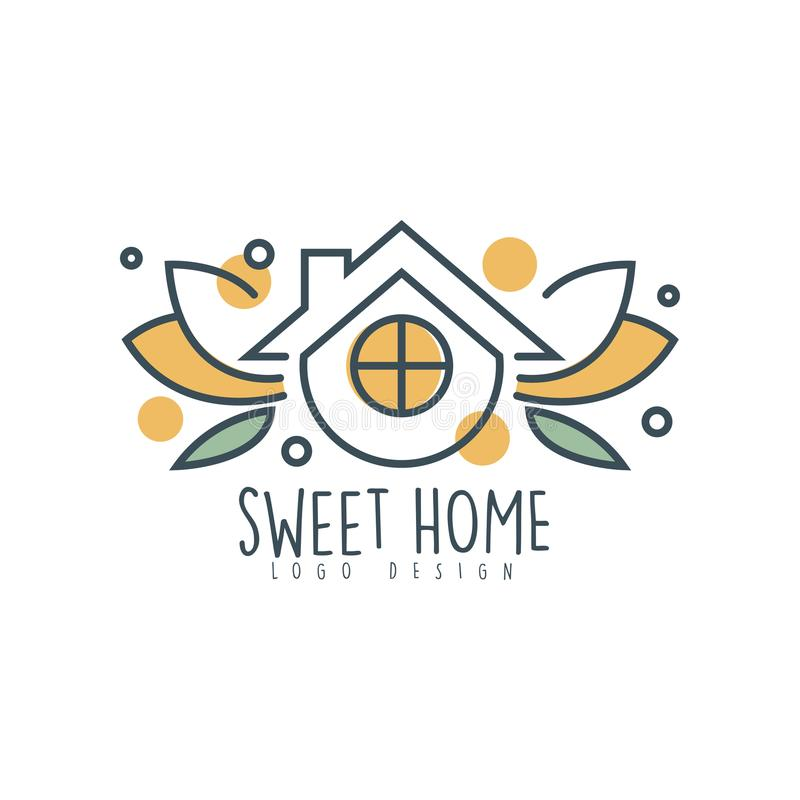 Sweet home logo design, eco friendly house concept, clean energy and technologies vector Illustration on a white vector illustration