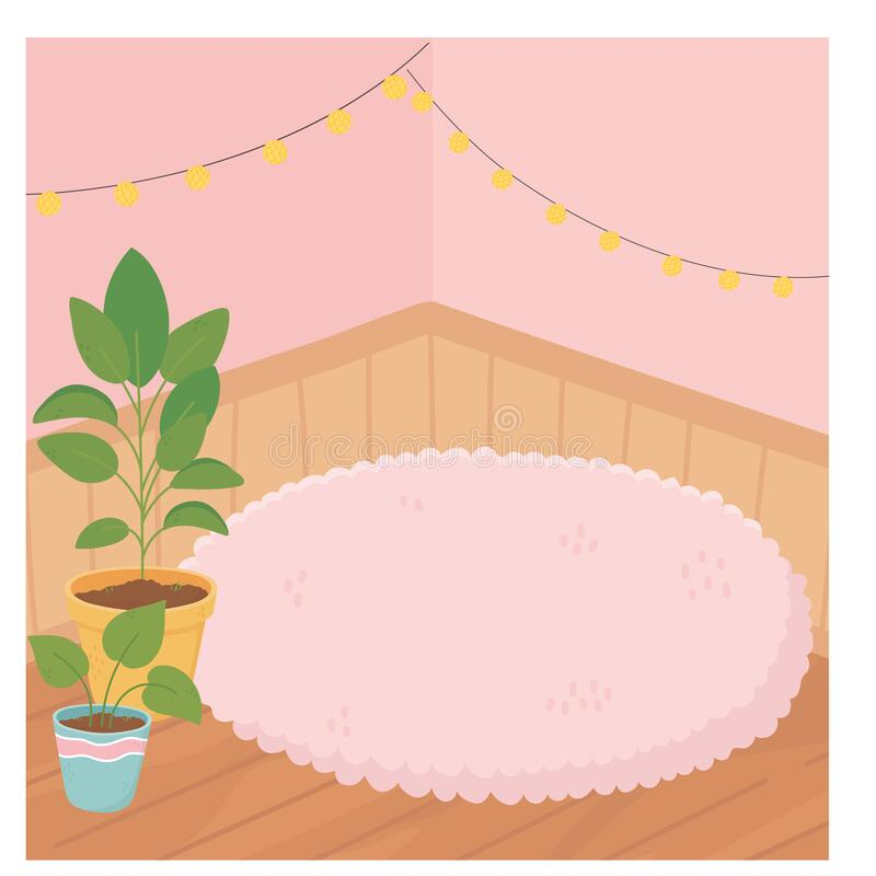 Free Sweet Home Potted Plants Carpet Wooden Floor Lights Decoration Stock Photos - 182960463