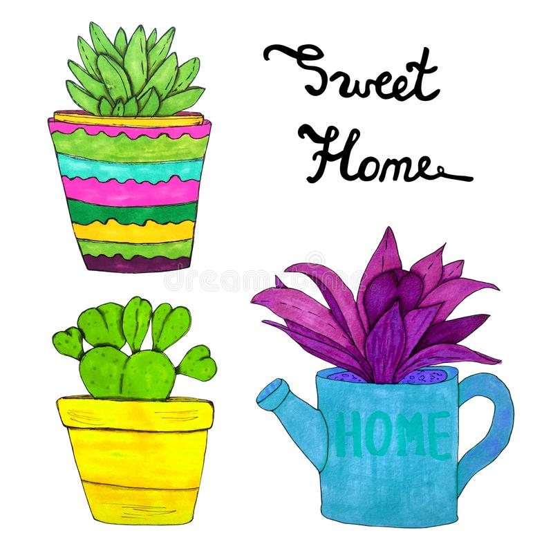 Sweet home watercolor plant collection. Succulent in a ceramic flower pot. Purple plant in a watering can. stock image