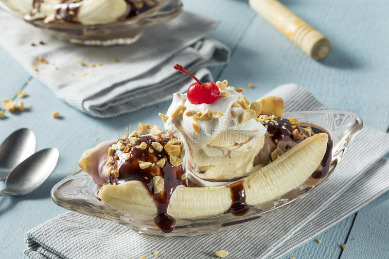Sweet Homemade Banana Split Sundae. With Chocolate Vanilla Strawberry Ice Cream royalty free stock photos