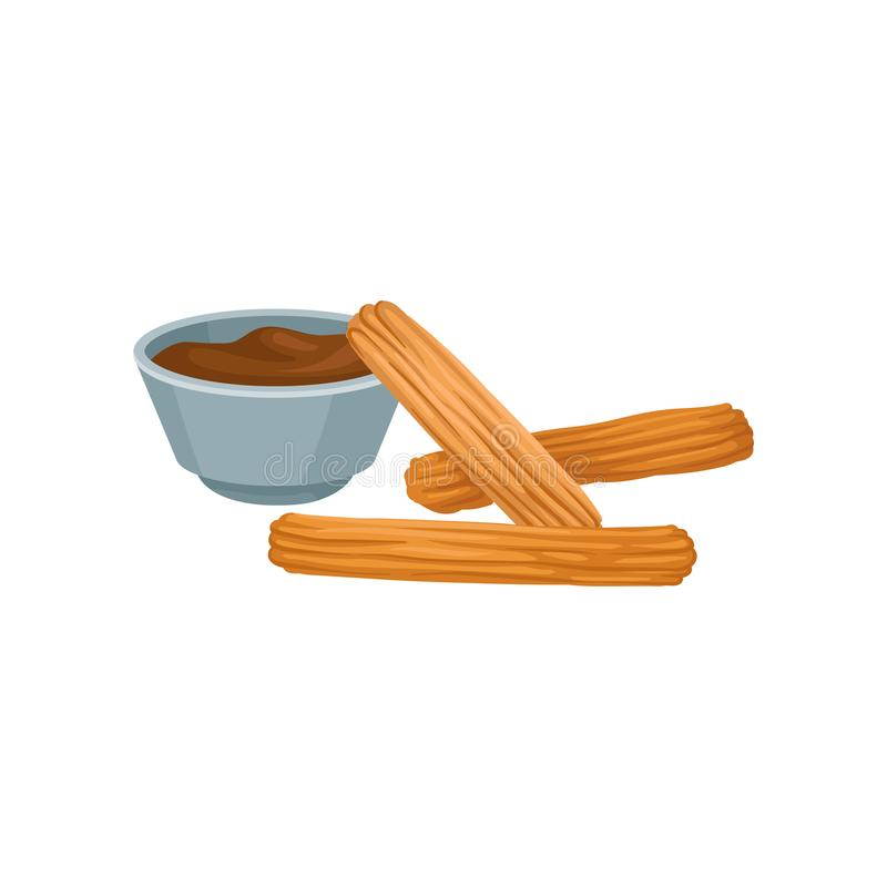 Sweet homemade churros with chocolate dipping sauce. Delicious Mexican snack. Flat vector design for cafe menu or poster. Sweet homemade churros with chocolate vector illustration
