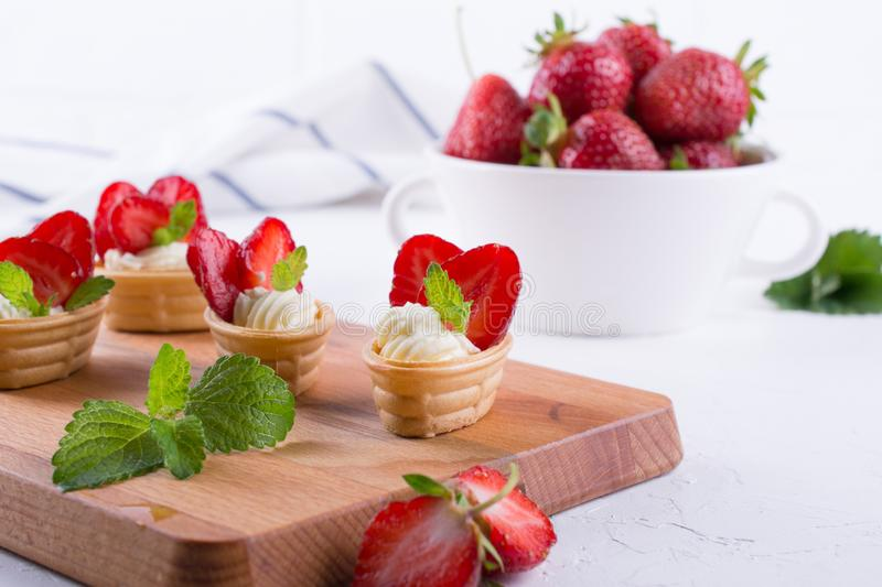 Sweet homemade healthy dessert with cream cheese and strawberries. Sweet homemade healthy dessert with cream cheese and fresh strawberries stock image