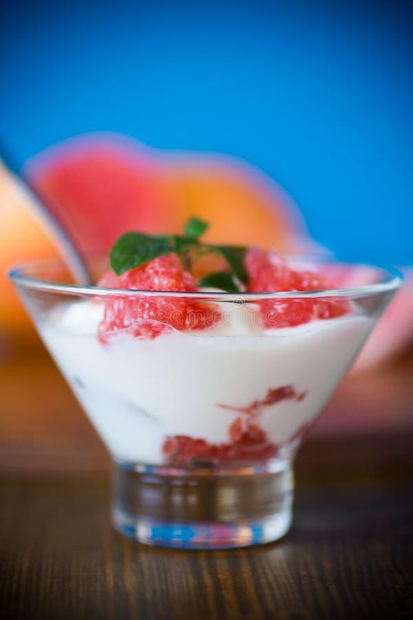 Sweet homemade organic yogurt with slices of red grapefruit royalty free stock image