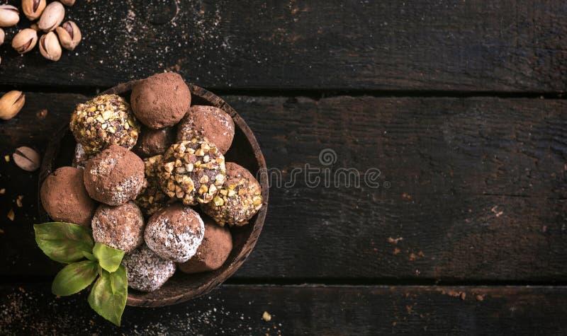 Sweet homemade pralines served royalty free stock photo