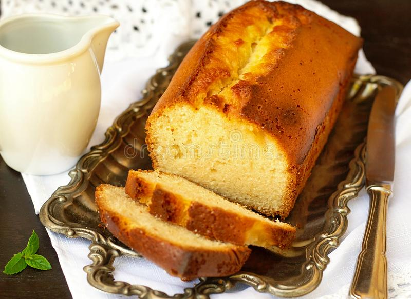 Sweet homemade traditional pound cake with lemon stock image