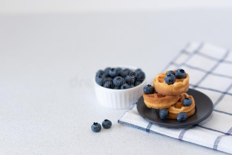 Sweet homemade waffles on plate, on light background. Wholesome breakfast. Viennese waffles with honey and berries on a light background royalty free stock photography