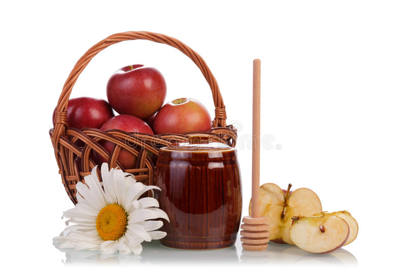 Sweet honey and apples royalty free stock images