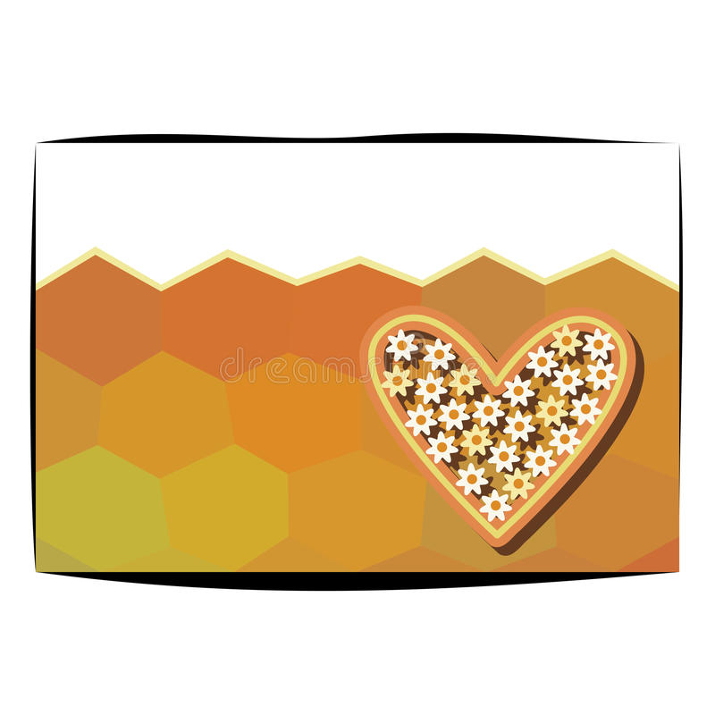 Sweet honey heart and hexacombs with copyspace royalty free stock photography