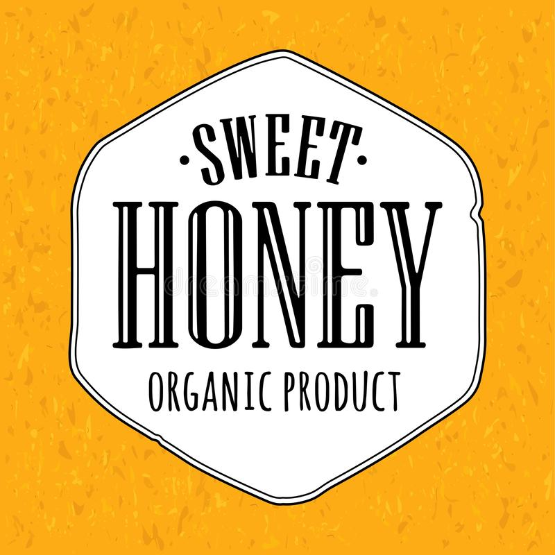 Sweet Honey organic product lettering. Advertising design for label vector illustration