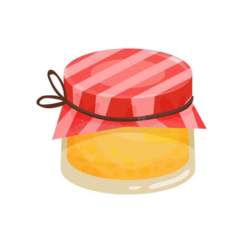Sweet honey in small glass jar with red fabric cover. Natural homemade product. Organic food. Cartoon vector design vector illustration