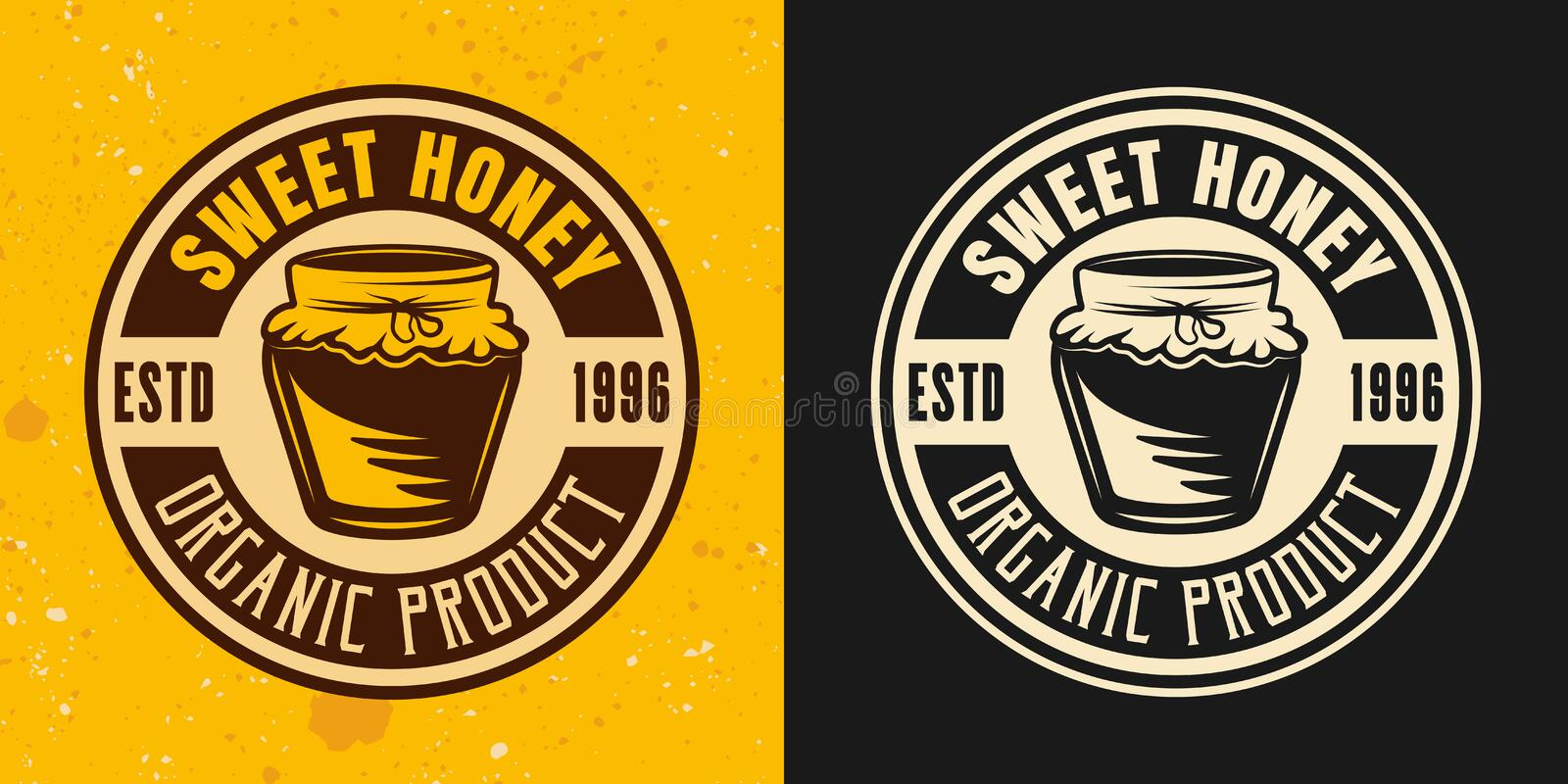 Sweet honey two colored styles vector round emblem royalty free illustration