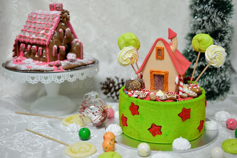 The sweet house of the fairy tale Hansel and Gretel cake stock photo