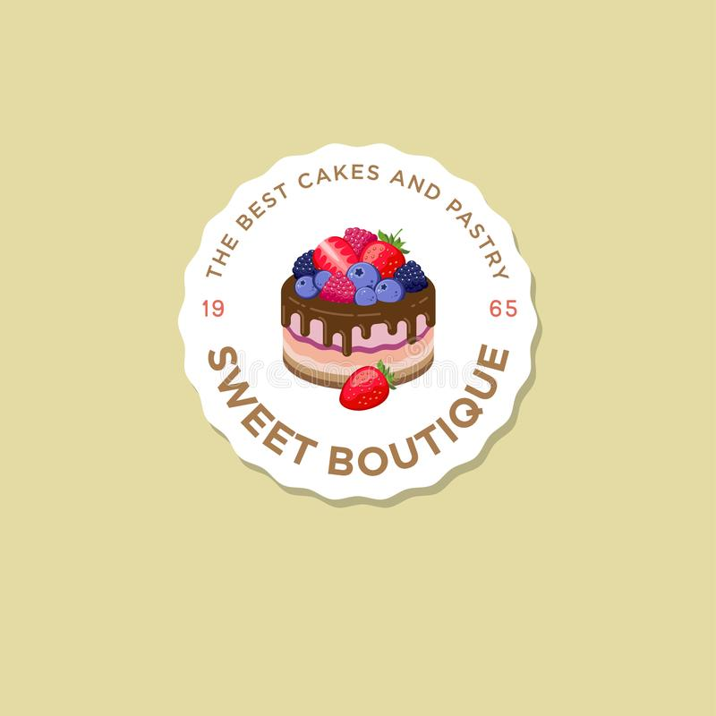 Sweet house logo. Cakes emblem. Bakery and cafe logo. A beautiful cake with berries. stock illustration