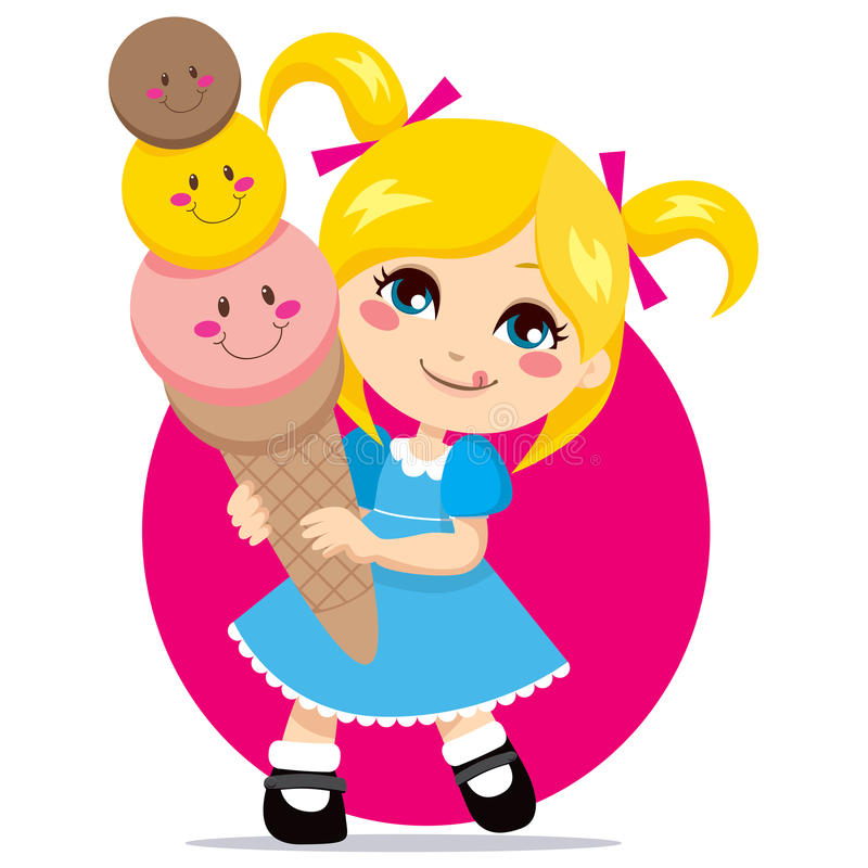 Sweet Ice Cream. Little blonde girl eating a sweet and cute three flavor ice cream cone vector illustration